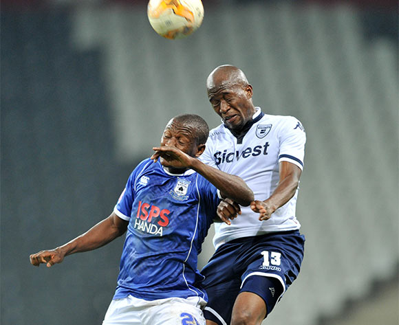 Judas Moseamedi of Black Aces challenged by S'fiso Hlanti of Bidvest Wits during the Absa Premiership match between Black Aces and Bidvest Wits at the Mbombela Stadium in Nelspruit, South Africa on May 03, 2016 ©Samuel Shivambu/BackpagePix