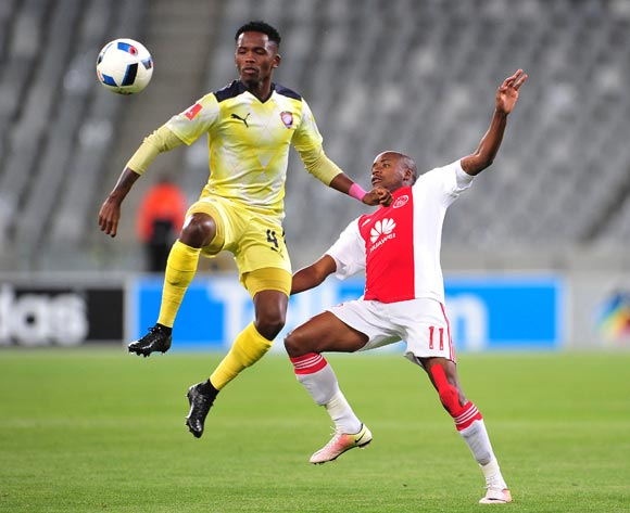 Thabang Monare of Jomo Cosmos battles for the ball with Bantu Mzwakali of Ajax Cape Town during the Absa Premiership 2015/16 football match between Ajax Cape Town and Jomo Cosmos at Cape Town Stadium, Cape Town on 4 May 2016 ©Chris Ricco/BackpagePix