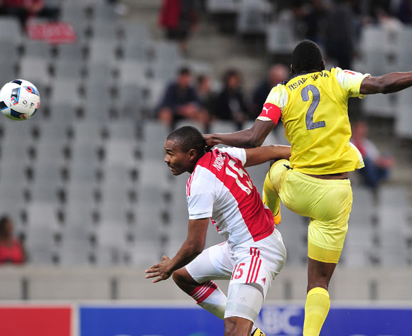Prince Nxumalo of Ajax Cape Town battles for the ball with  Frederick Nsabiyumva of Jomo Cosmos during the Absa Premiership 2015/16 football match between Ajax Cape Town and Jomo Cosmos at Cape Town Stadium, Cape Town on 4 May 2016 ©Chris Ricco/BackpagePix