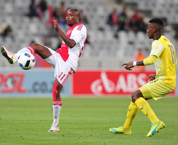 Bantu Mzwakali of Ajax Cape Town evades challenge from Tebogo Makobela of Jomo Cosmos during the Absa Premiership 2015/16 football match between Ajax Cape Town and Jomo Cosmos at Cape Town Stadium, Cape Town on 4 May 2016 ©Chris Ricco/BackpagePix