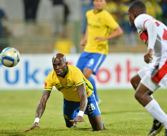 Anthony Laffor of Mamelodi Sundowns watches as ball goes in for first goal during the 2015/16 Absa Premiership football match between University of Pretoria and Mamelodi Sundowns at Tuks Stadium, Pretoria on 04 May 2016 ©Gavin Barker/BackpagePix