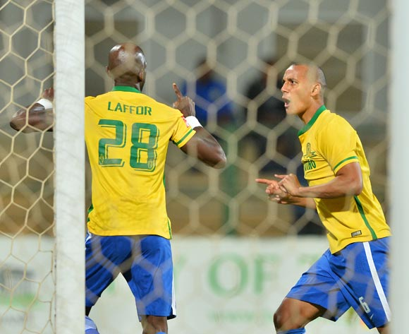 Anthony Laffor of Mamelodi Sundowns (l) celebrates goal with Wayne Arendse of Mamelodi Sundowns (r)  during the 2015/16 Absa Premiership football match between University of Pretoria and Mamelodi Sundowns at Tuks Stadium, Pretoria on 04 May 2016 ©Gavin Barker/BackpagePix