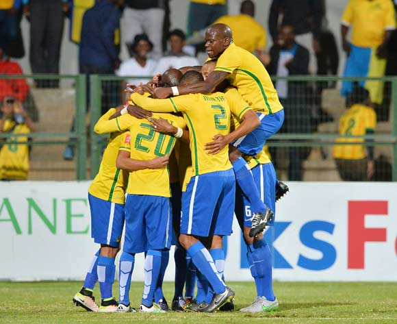 Hlompho Kekana of Mamelodi Sundowns (r) jumps in celebration as teammates embrace goalscorer Anthony Laffor (c) during the 2015/16 Absa Premiership football match between University of Pretoria and Mamelodi Sundowns at Tuks Stadium, Pretoria on 04 May 2016 ©Gavin Barker/BackpagePix