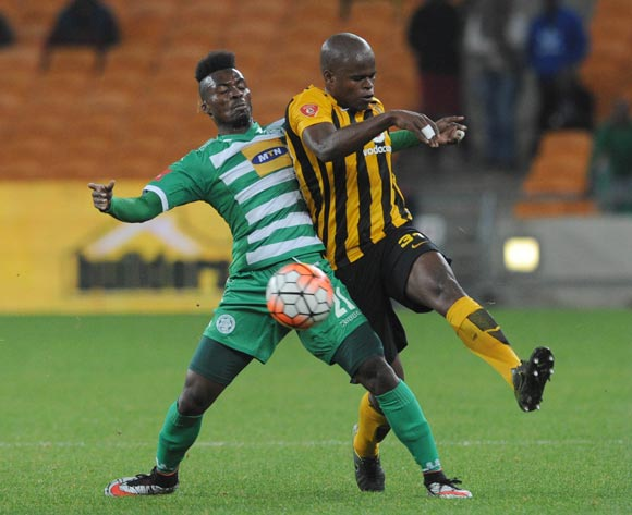 Fiston Abdoul of Bloemfontein Celtic is challenged by Willard Katsande of Kaizer Chiefs during the Absa Premiership match between Kaizer Chiefs and Bloemfontein Celtic  on 04 May 2016 at FNB Stadium Pic Sydney Mahlangu/ BackpagePix