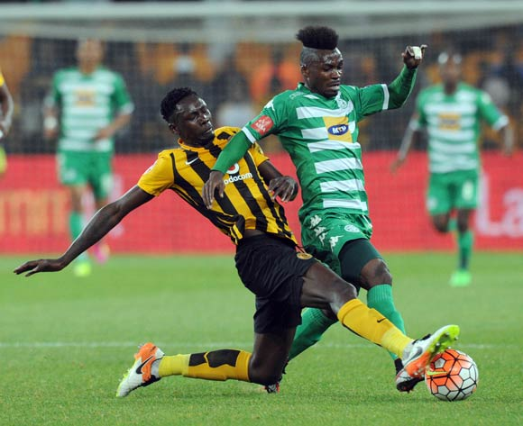 Fiston Abdoul of Bloemfontein Celtic is challenged by Erick Mathoho of Kaizer Chiefs during the Absa Premiership match between Kaizer Chiefs and Bloemfontein Celtic  on 04 May 2016 at FNB Stadium Pic Sydney Mahlangu/ BackpagePix