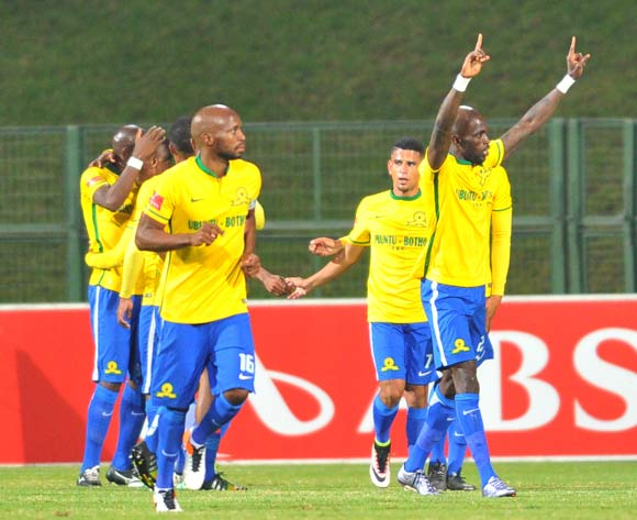 Anthony Laffor of Mamelodi Sundowns celebrates his goal with his teammates during the Absa Premiership match between University of Pretoria and Mamelodi Sundowns at the Tuks Stadium in Pretoria, South Africa on May 04, 2016 ©Samuel Shivambu/BackpagePix
