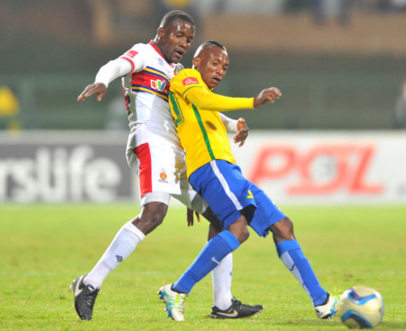 Khama Billiat of Mamelodi Sundowns challenged by Ronald Ketjijere of University of Pretoria during the Absa Premiership match between University of Pretoria and Mamelodi Sundowns at the Tuks Stadium in Pretoria, South Africa on May 04, 2016 ©Samuel Shivambu/BackpagePix