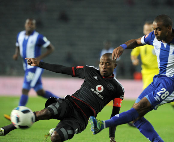 Thabo Matlaba of Orlando Pirates challenges Deolin Mekoa of Maritzburg United during the Absa Premiership match between Orlando Pirates and Maritzburg United on 07 May 2016 at Orlando Stadium Pic Sydney Mahlangu/ BackpagePix
