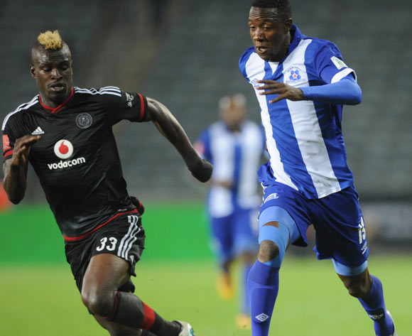 Edwin Gyimah of Orlando Pirates challenges Evans Rusike of Maritzburg United during the Absa Premiership match between Orlando Pirates and Maritzburg United on 07 May 2016 at Orlando Stadium Pic Sydney Mahlangu/ BackpagePix