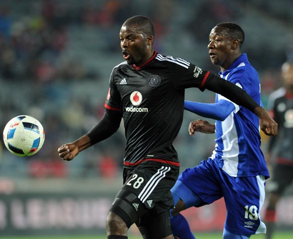 Rooi Mahamutsa of Orlando Pirates is challenged by Evans Rusike of Maritzburg United during the Absa Premiership match between Orlando Pirates and Maritzburg United on 07 May 2016 at Orlando Stadium Pic Sydney Mahlangu/ BackpagePix