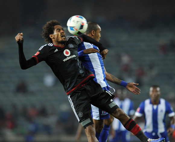 Issa Sarr of Orlando Pirates challenges Deolin Mekoa of Maritzburg United during the Absa Premiership match between Orlando Pirates and Maritzburg United on 07 May 2016 at Orlando Stadium Pic Sydney Mahlangu/ BackpagePix