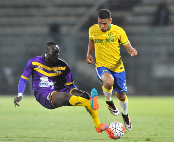 Keagan Dolly of Mamelodi Sundowns tackled by Samuel Adade of Medeama during the CAF Confederation Cup match between Mamelodi Sundowns and Medeama at the Lucas Moripe Stadium in Pretoria, South Africa on May 07, 2016 ©Samuel Shivambu/BackpagePix