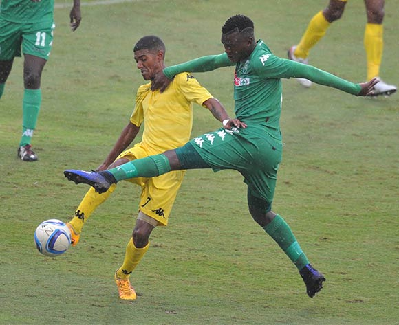 Gregory Roelf of Milano United challenged by Nkanyiso Zungu of AmaZulu during the National First Division 2015/16 match between AmaZulu and Milano at Princess Magogo Stadium, KwaMashu in Kwa-Zulu Natal South Africa on 08 May, 2016 ©Muzi Ntombela/BackpagePix