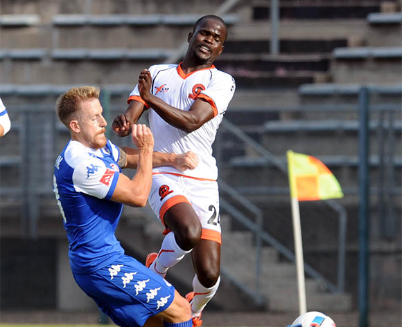 Simphiwe Hlongwane of Polokwane City is tackled by Michael Morton  of Supersport United  during the Absa Premiership match between Supersport United and Polokwane City on 08 May 2016 at Lucas Moripe Stadium Pic Sydney Mahlangu/ BackpagePix