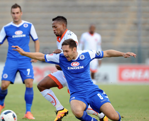 Edgar Manaka of Polokwane City challenges Dean Furman  of Supersport United  during the Absa Premiership match between Supersport United and Polokwane City on 08 May 2016 at Lucas Moripe Stadium Pic Sydney Mahlangu/ BackpagePix