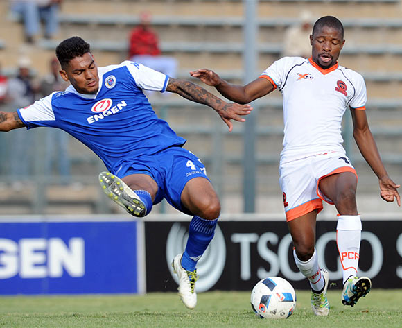 Puleng Tlolane of Polokwane City is tackled by Clayton Daniels of Supersport United  during the Absa Premiership match between Supersport United and Polokwane City on 08 May 2016 at Lucas Moripe Stadium Pic Sydney Mahlangu/ BackpagePix