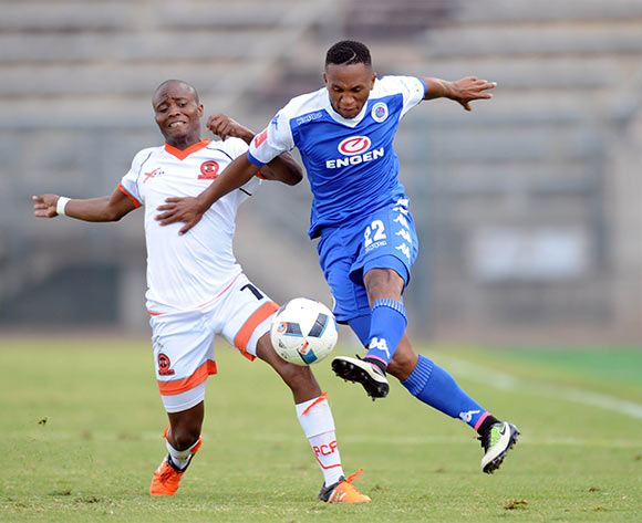 Sipho Mjembula of Polokwane City challenges Luvolwethu Mpeta of Supersport United    during the Absa Premiership match between Supersport United and Polokwane City on 08 May 2016 at Lucas Moripe Stadium Pic Sydney Mahlangu/ BackpagePix