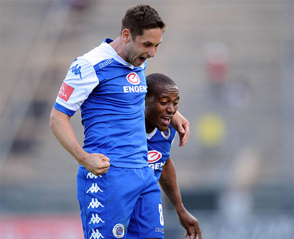 Dean Furman (8) celebrates a goal with teammates during the Absa Premiership match between Supersport United and Polokwane City on 08 May 2016 at Lucas Moripe Stadium Pic Sydney Mahlangu/ BackpagePix