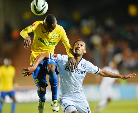 Khama Billiat of mamelodi Sundowns challenged by Nazeer Allie of Bidvest Wits  during the 2015/16 Absa Premiership football match between Bidvest Wits and Mamelodi Sundowns at Bidvest Stadium, Johannesburg on 11 May 2016 ©Gavin Barker/BackpagePix