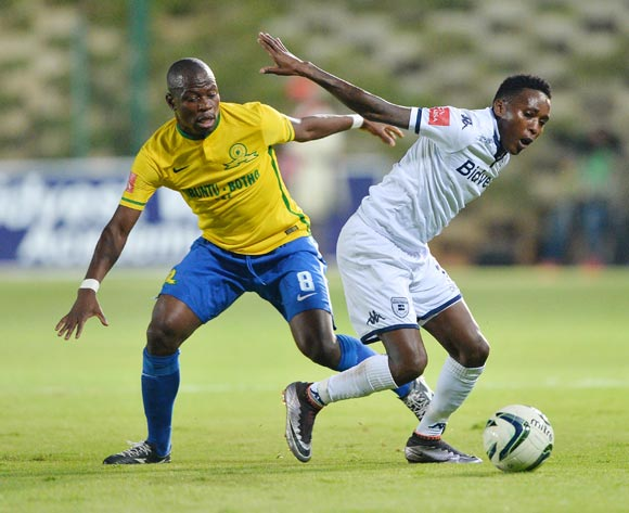 Elias Pelembe of Bidvest Wits fouled by Hlompho Kekana of Mamelodi Sundowns during the 2015/16 Absa Premiership football match between Bidvest Wits and Mamelodi Sundowns at Bidvest Stadium, Johannesburg on 11 May 2016 ©Gavin Barker/BackpagePix