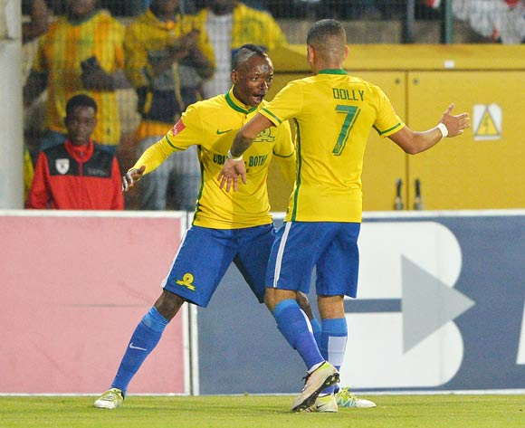 Khama Billiat of Mamelodi Sundowns (l) celebrates goal with teammate Keagan Dolly (r) during the 2015/16 Absa Premiership football match between Bidvest Wits and Mamelodi Sundowns at Bidvest Stadium, Johannesburg on 11 May 2016 ©Gavin Barker/BackpagePix