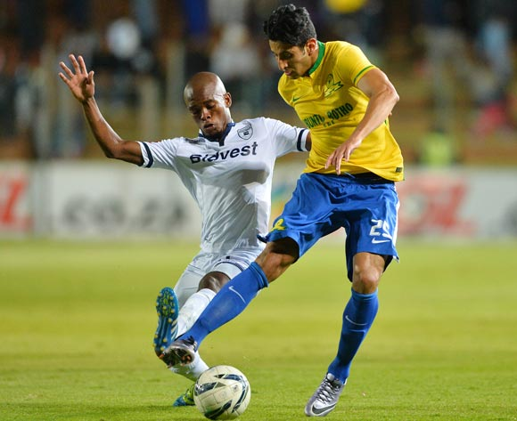 Phumlani Ntshangase of Bidvest Wits tackles Leonardo Castro of Sundowns during the 2015/16 Absa Premiership football match between Bidvest Wits and Mamelodi Sundowns at Bidvest Stadium, Johannesburg on 11 May 2016 ©Gavin Barker/BackpagePix
