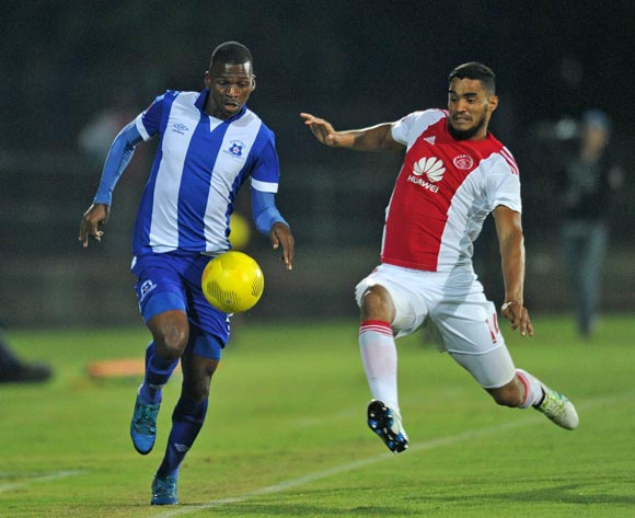 Thamsanqa Mkhize of Maritzburg United tackled by Tashreeq Morris of Ajax Cape Town during the Absa Premiership 2015/16  match between Maritzburg United and Ajax Cape Town at Harry Gwala Stadium, Pietermaritzburg in Kwa-Zulu Natal South Africa on 11 May, 2016 ©Muzi Ntombela/BackpagePix