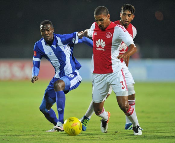 Evans Rusike of Maritzburg United challenges Rivaldo Coetzee of Ajax Cape Town during the Absa Premiership 2015/16 match between Maritzburg United and Ajax Cape Town at Harry Gwala Stadium, Pietermaritzburg in Kwa-Zulu Natal South Africa on 11 May, 2016 ©Muzi Ntombela/BackpagePix
