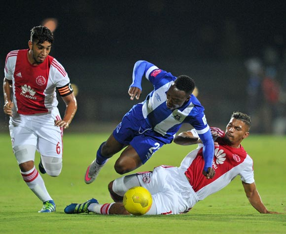 Philani Zulu of Maritzburg United tackled by Toriq Losper and Travis Graham of Ajax Cape Town during the Absa Premiership 2015/16  match between Maritzburg United and Ajax Cape Town at Harry Gwala Stadium, Pietermaritzburg in Kwa-Zulu Natal South Africa on 11 May, 2016 ©Muzi Ntombela/BackpagePix