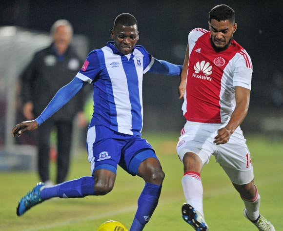 Thamsanqa Mkhize of Maritzburg United challenged by Tashreeq Morris of Ajax Cape Town during the Absa Premiership 2015/16  match between Maritzburg United and Ajax Cape Town at Harry Gwala Stadium, Pietermaritzburg in Kwa-Zulu Natal South Africa on 11 May, 2016 ©Muzi Ntombela/BackpagePix