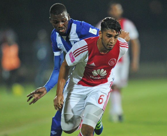 Travis Graham of Ajax Cape Town challenged by Thamsanqa Mkhize of Maritzburg United during the Absa Premiership 2015/16  match between Maritzburg United and Ajax Cape Town at Harry Gwala Stadium, Pietermaritzburg in Kwa-Zulu Natal South Africa on 11 May, 2016 ©Muzi Ntombela/BackpagePix
