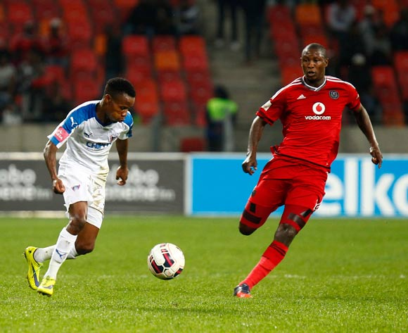 Joseph Malongoane of Chippa United and Ayanda Gcaba of Orlando Pirates during the Absa Premiership 2015/16 game between Chippa United and Orlando Pirates at Nelson Mandela Bay Stadium, Port Elizabeth on 11 May 2016 © Mike Sheehan/BackpagePix