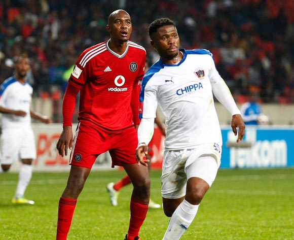 David Zulu of Chippa United and Lehlogonolo Masalesa Orlando Pirates during the Absa Premiership 2015/16 game between Chippa United and Orlando Pirates at Nelson Mandela Bay Stadium, Port Elizabeth on 11 May 2016 © Mike Sheehan/BackpagePix