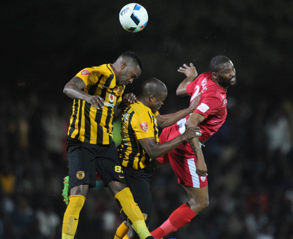 Morgan Gould(l) and Willard Katsande of Kaizer Chiefs challenge Sthembiso Ngcobo of Free State Stars during the Absa Premiership match between Free State Stars and Kaizer Chiefs on 11 May 2016 at Goble Park Stadium Pic Sydney Mahlangu/ BackpagePix