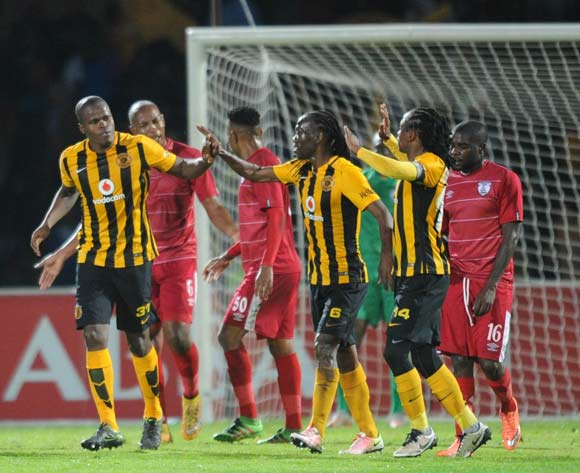 Willard Katsande of Kaizer Chiefs celebrates with teammates during the Absa Premiership match between Free State Stars and Kaizer Chiefs on 11 May 2016 at Goble Park Stadium Pic Sydney Mahlangu/ BackpagePix