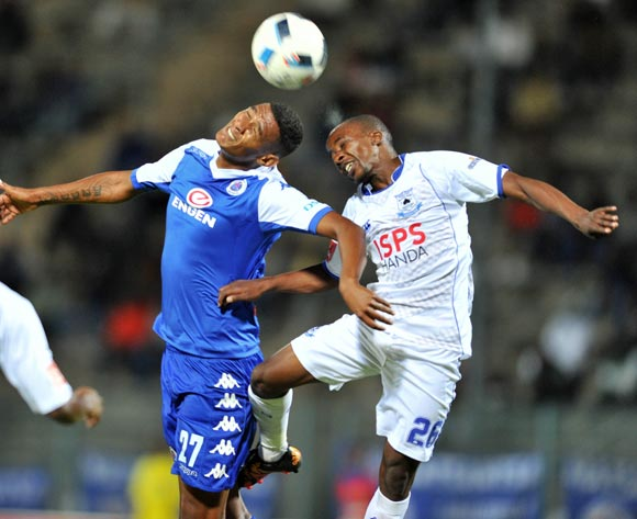 Thabo Nodada of Black Aces challenged by Mario Booysen of Supersport United during the Absa Premiership match between Supersport United and Black Aces at the Lucas Moripe Stadium in Pretoria, South Africa on May 11, 2016 ©Samuel Shivambu/BackpagePix