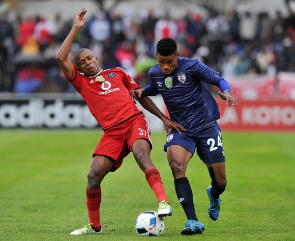 Bokang Tlhone of Free State Stars challenged by Luvuyo Memela of Orlando Pirates during the Absa Premiership 2015/16  match between Free State Stars and Orlando Pirates at Harry Gwala Stadium, Bethlehem in Free State South Africa on 14 May, 2016 ©Muzi Ntombela/BackpagePix