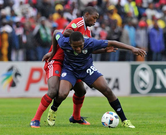 Sello Japhta of Free State Stars challenged by Ayanda Gcaba of Orlando Pirates during the Absa Premiership 2015/16  match between Free State Stars and Orlando Pirates at Harry Gwala Stadium, Bethlehem in Free State South Africa on 14 May, 2016 ©Muzi Ntombela/BackpagePix