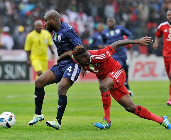 Makhehlene Makhaula of Free State Stars fouled by Ntsikelelo Nyauza of Orlando Pirates during the Absa Premiership 2015/16  match between Free State Stars and Orlando Pirates at Harry Gwala Stadium, Bethlehem in Free State South Africa on 14 May, 2016 ©Muzi Ntombela/BackpagePix