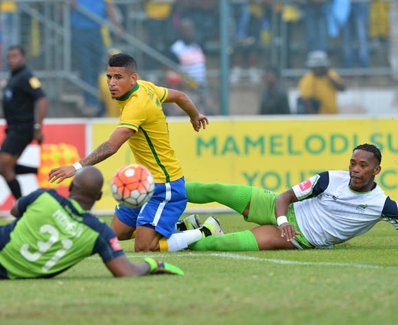 Keagan Dolly of Mamelodi Sundowns shot saved by keeper Mbongeni Mzimela of Platinum Stars as Vuyo Mere tackles him  the 2015/16 Absa Premiership football match between Mamelodi Sundowns and Platinum Stars at Lucas Moripe Stadium, Pretoria on 21 May 2016 ©Gavin Barker/BackpagePix