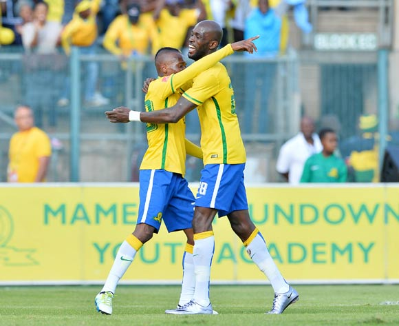 Khama Billiat of Mamelodi Sundowns (l) embraced by Anthony Laffor of Mamelodi Sundowns during the 2015/16 Absa Premiership football match between Mamelodi Sundowns and Platinum Stars at Lucas Moripe Stadium, Pretoria on 21 May 2016 ©Gavin Barker/BackpagePix