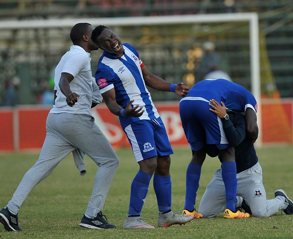 Maritzburg United players Overwhelmed with joy during the Absa Premiership match between Jomo Cosmos and Maritzburg United on 21 May 2016 at Olen Park Pic/BackpagePix