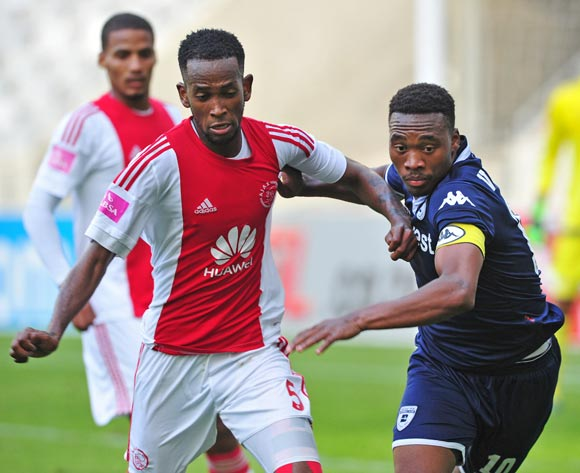 Mosa Lebusa of Ajax Cape Town and Sibusiso Vilakazi of Bidvest Wits tussle during the Absa Premiership 2015/16 game between Ajax Cape Town and Bidvest Wits at Cape Town Stadium on 21 May 2016 ©Ryan Wilkisky/BackpagePix