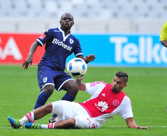 Wangu Gome of Bidets Wits  is challenged by Toriq Losper of Ajax Cape Town during the Absa Premiership 2015/16 game between Ajax Cape Town and Bidvest Wits at Cape Town Stadium on 21 May 2016 ©Ryan Wilkisky/BackpagePix