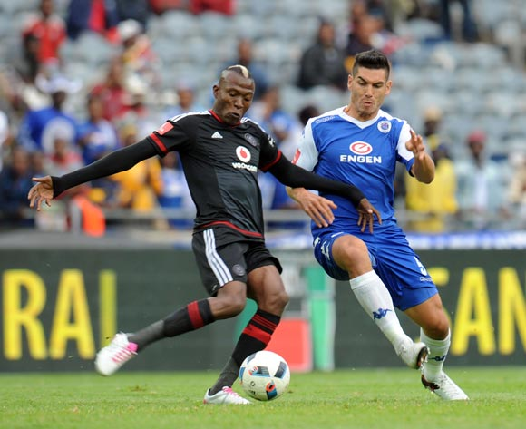 Michael Boxall of Supersport United challenges Tendai Ndoro of Orlando Pirates  during the Absa Premiership match between Orlando Pirates and Supersport United on 21 May 2016 at Orlando Stadium Pic Sydney Mahlangu/ BackpagePix