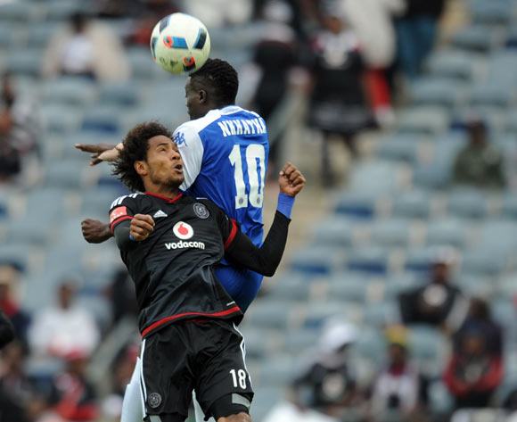 Issa Sarr of Orlando Pirates is challenged by Kingston Nkhatha of Supersp[ort United during the Absa Premiership match between Orlando Pirates and Supersport United on 21 May 2016 at Orlando Stadium Pic Sydney Mahlangu/ BackpagePix