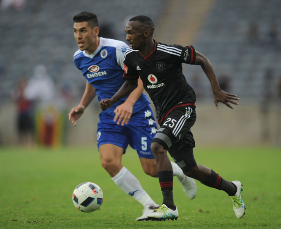 Thabo Rakhale of Orlando Pirates is challenged by Michael Boxall of Supersport United  during the Absa Premiership match between Orlando Pirates and Supersport United on 21 May 2016 at Orlando Stadium Pic Sydney Mahlangu/ BackpagePix