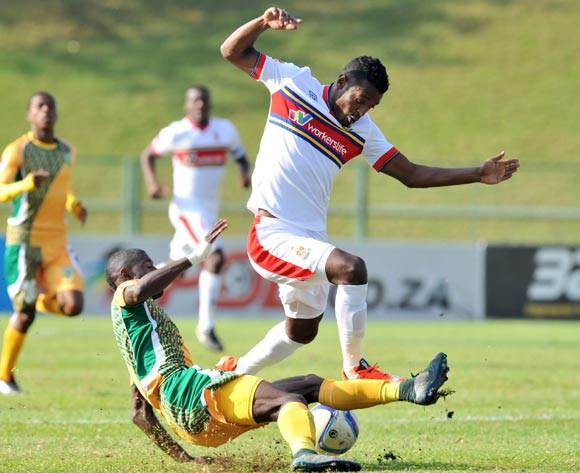 Getaneh Kebede of University of Pretoria tackled by Deon Hotto of Golden Arrows during the 2015/16 Absa Premiership football match between University of Pretoria and Golden Arrows at the  Tuks Stadium in Pretoria, South Africa on May 21, 2016 ©Samuel Shivambu/BackpagePix