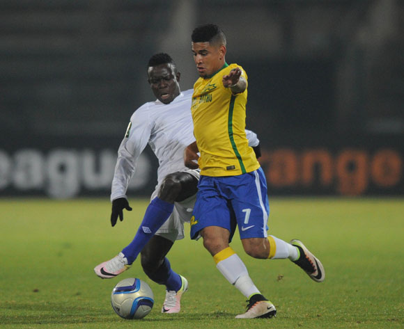 Keagan Dolly of Mamelodi Sundowns is challenged by Daniel Etor of Enyimba  during the CAF Champions League match Mamelodi Sundowns and  Enyimba on 29 June 2016 at Lucas Moripe Stadium  Pic Sydney Mahlangu/ BackpagePix