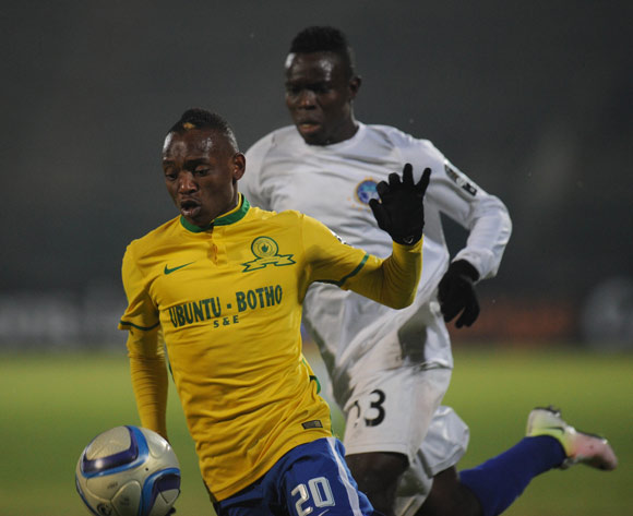 Khama Billiat of Mamelodi Sundowns is challenged by Daniel Etor of Enyimba  during the CAF Champions League match Mamelodi Sundowns and  Enyimba on 29 June 2016 at Lucas Moripe Stadium  Pic Sydney Mahlangu/ BackpagePix